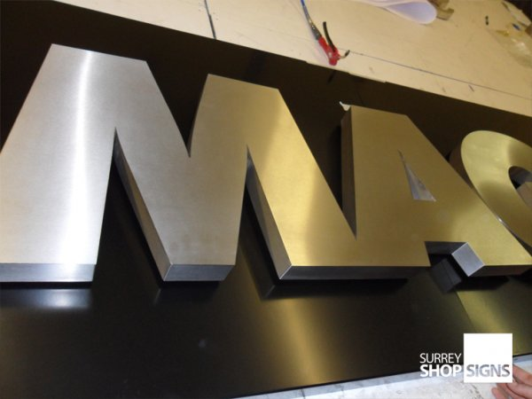 Brushed Stainless Steel 3D Shop Sign Metal Letters - Surrey