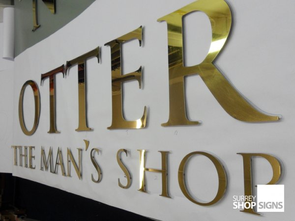 Mirror polished gold shop sign letters surrey shop signs for Store sign letters