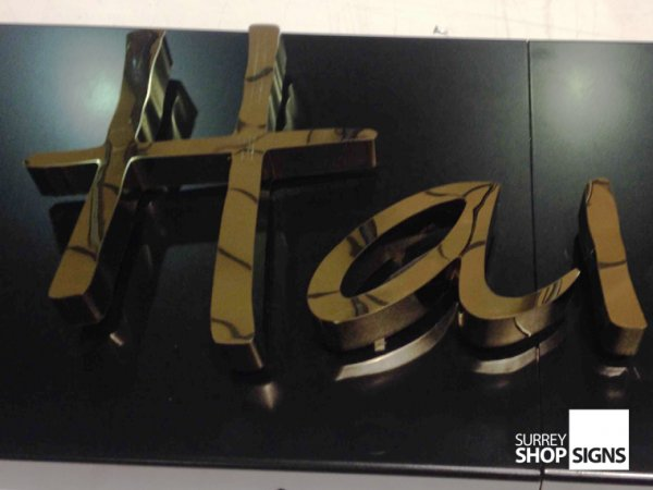 3D Polished Gold Stainless Steel Shop Sign Letters - Surrey