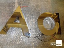 A a polished gold 3D letters all letters