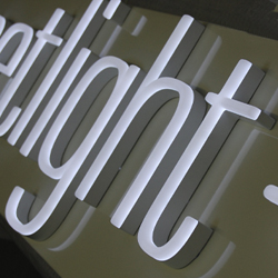 illuminated shop sign letters