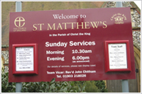 church signs Walton on thames