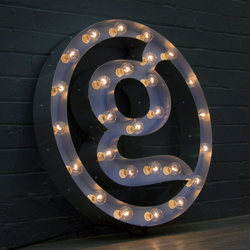 office sign with light bulbs