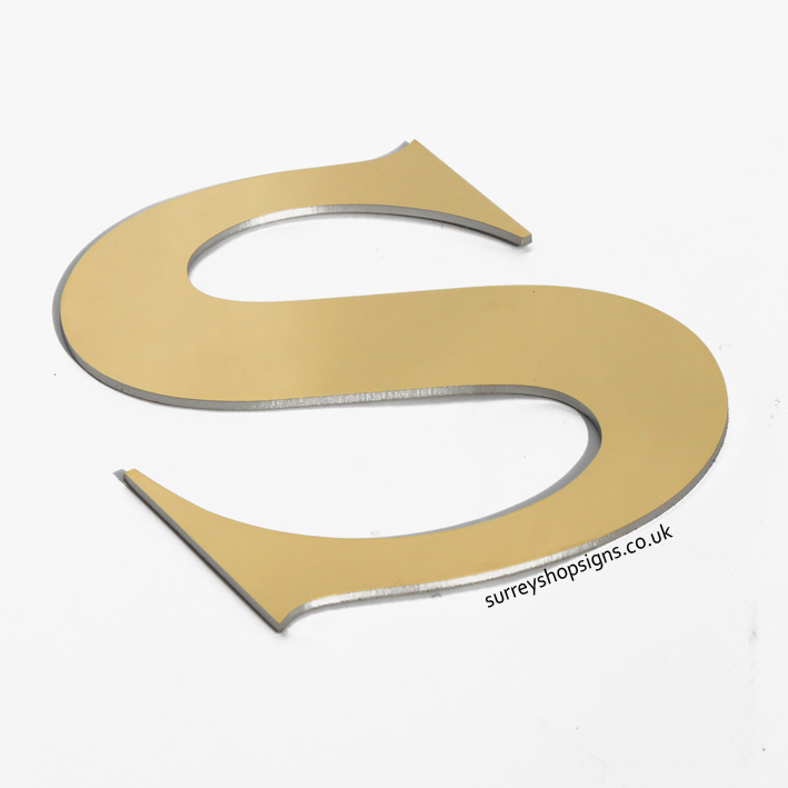 flat cut mirror finished gold shop sign letter